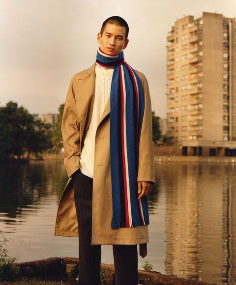 Clothing, Outerwear, Fashion, Fashion design, Street fashion, Beige, Scarf, Formal wear, Overcoat, Fashion accessory,