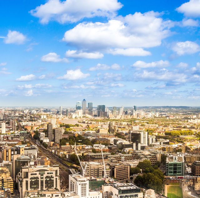 birds eye panoramic view of the united kingdom cityscape from the unusual and atypical camera angle