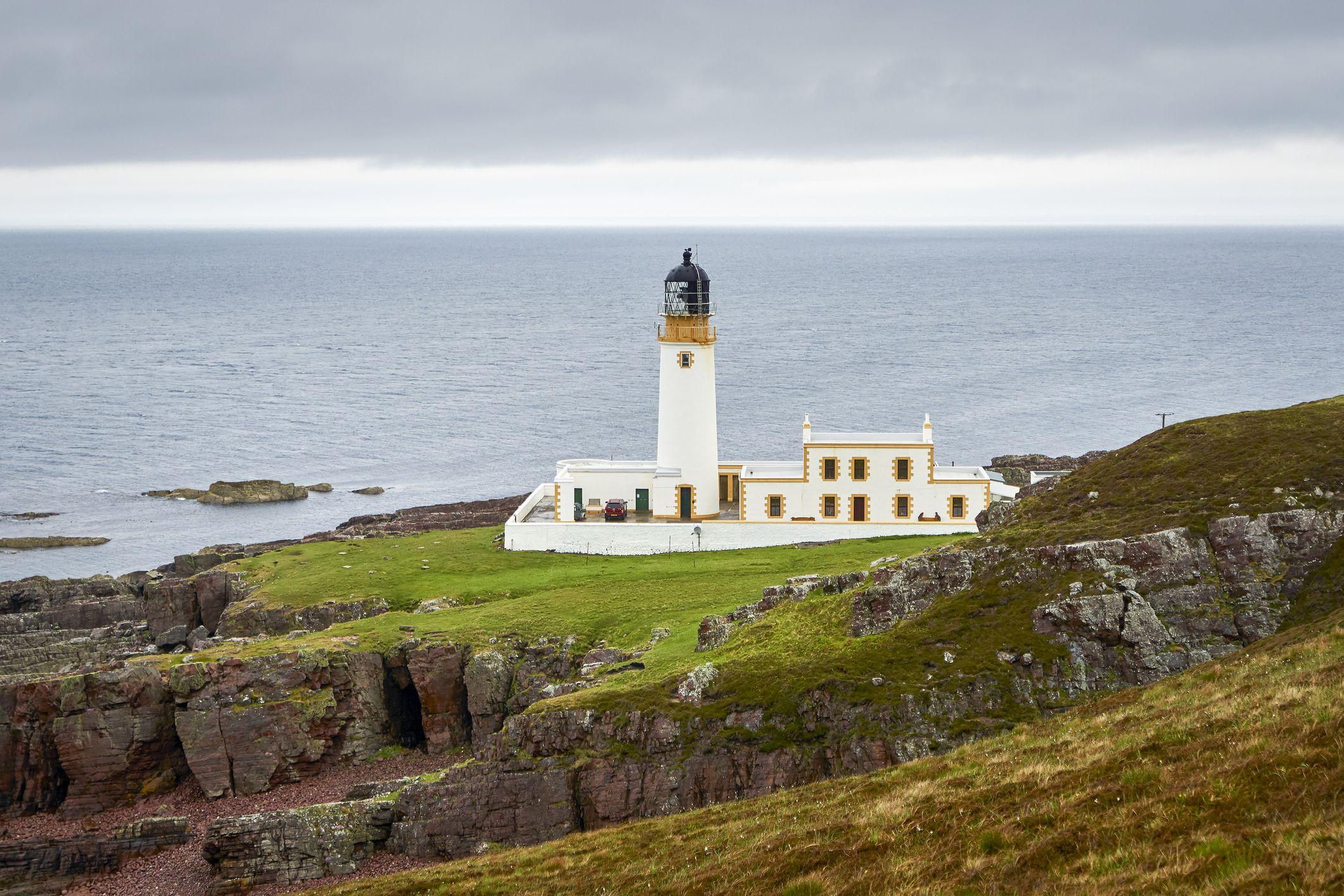 United Kingdom, Scotland, Highland, Wester Ross, Gairloch, Melvaig, Rua Reidh Lighthouse