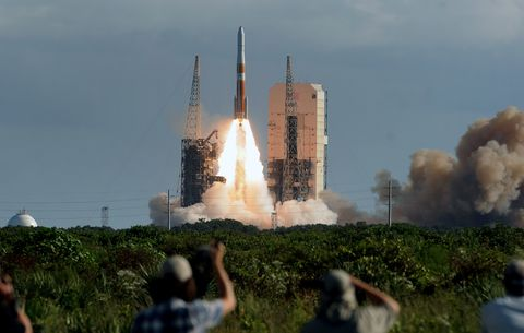 A United Launch Alliance Delta IV rocket in space at complex...