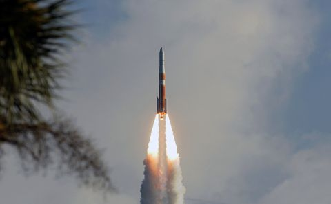A United Launch Alliance Delta IV rocket launches from space...
