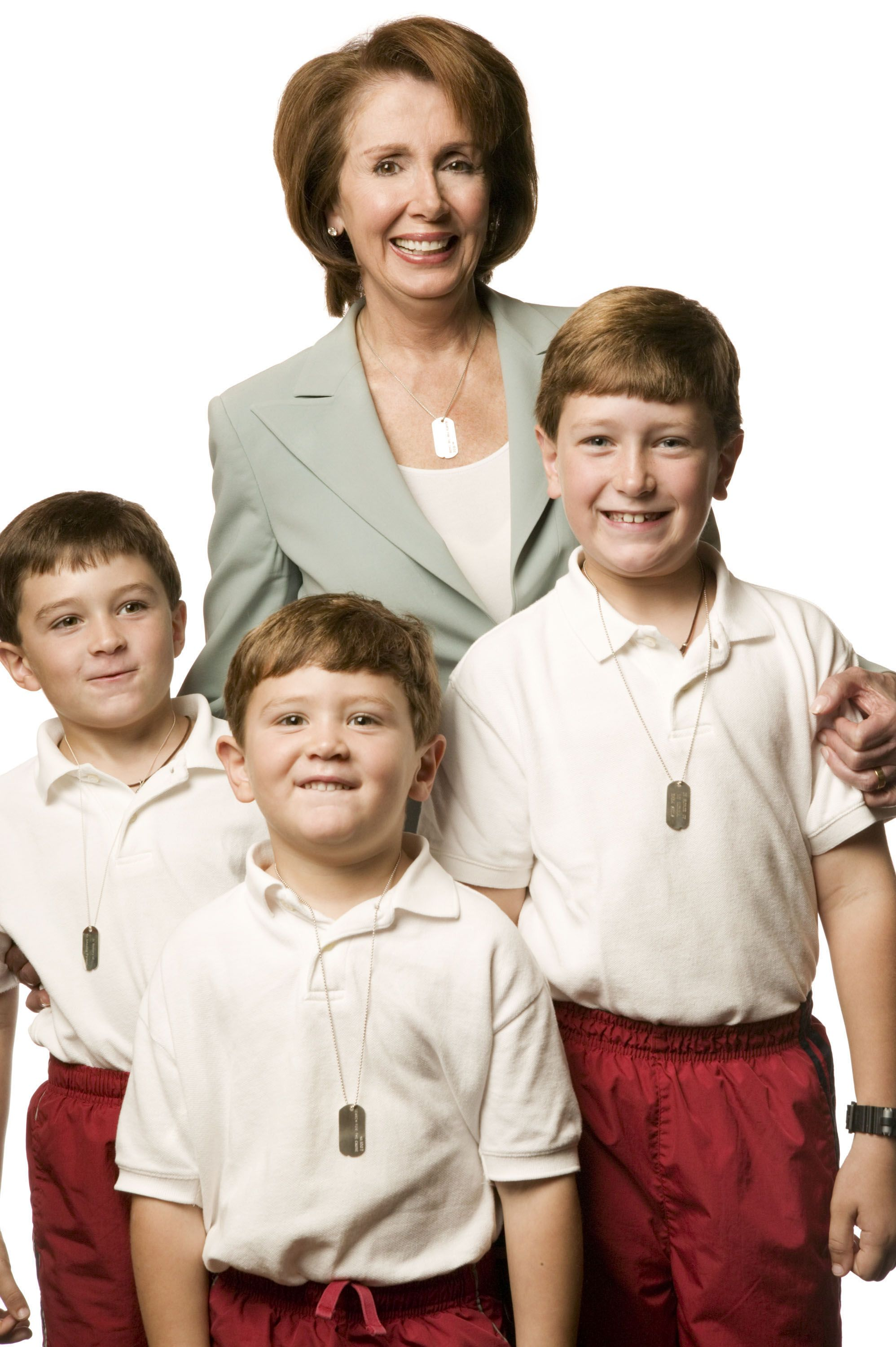 Pelosi poses for a photo with three of her grandchildren in a portrait series for the Search for the Cause campaign, which benefits cancer research.