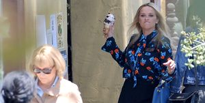 EXCLUSIVE: Reese Witherspoon Tosses Her Ice Cream Cone at Meryl Streep on the Set of 'Big Little Lies' in Los Angeles.