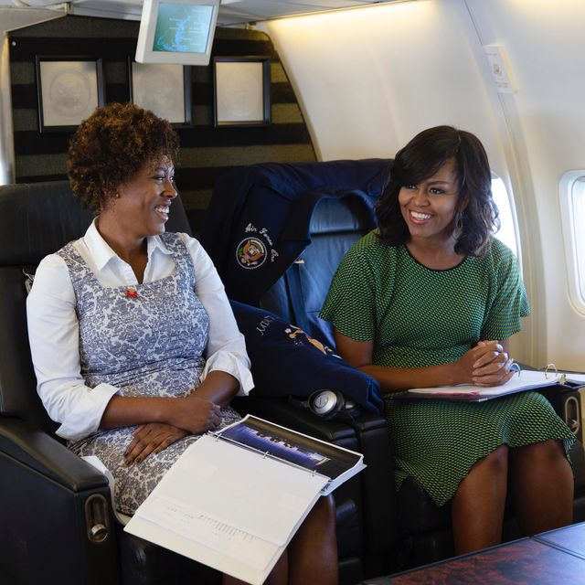 first lady michelle obama meets with staff aboard bright star during the flight from joint base andrews, maryland to new york, ny, feb 2, 2016 official white house photo by lawrence jackson