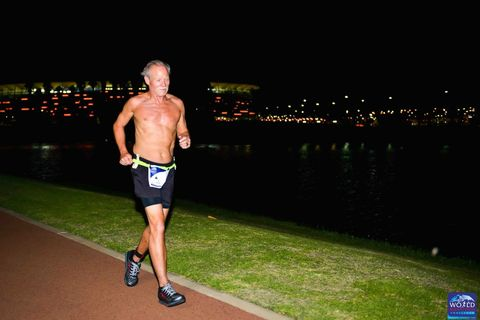 Barechested, Recreation, Muscle, Long-distance running, Running, Individual sports, Exercise, Sports, Night, Competition,