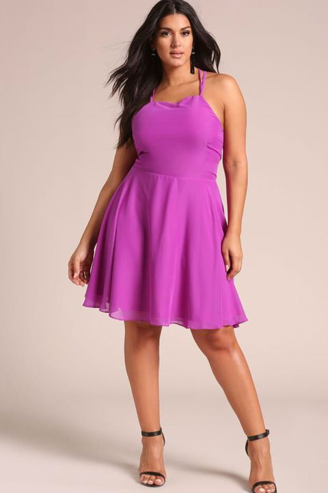 Clothing, Fashion model, Dress, Day dress, Cocktail dress, Shoulder, Magenta, Waist, Photo shoot, Neck,
