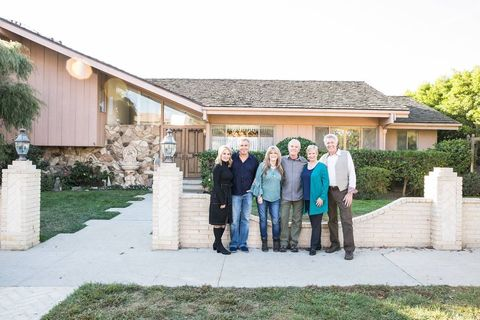Brady Bunch cast reunites at The Brady Bunch house in Los Angeles.