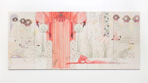 Pink, Red, Illustration, Art, Tree, Wallpaper, Room, Textile, Plant, Modern art,
