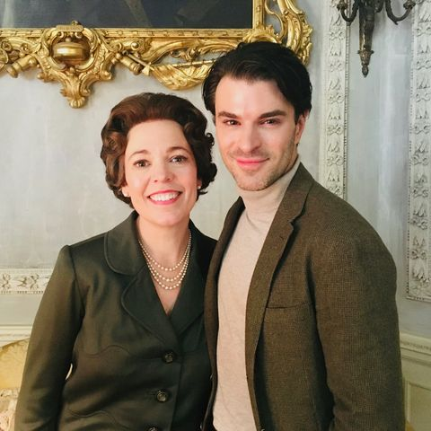 Gavin McLeod-Valentine and Olivia Coleman on set for The Crown