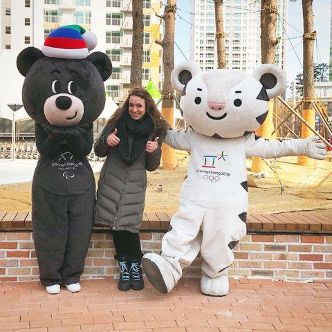Mascot, Teddy bear, Plush, Stuffed toy, Toy, Fur, Textile, Costume, Smile, Bear,