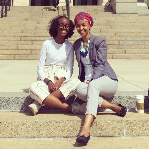 isra hirsi and her mom in 2018, on rep omar's last day as a member of the minnesota house of representatives