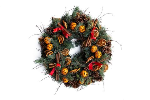 lavender green flowers holiday wreath
