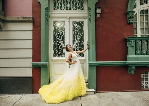 Photograph, Dress, Yellow, Green, Gown, Beauty, Wedding dress, Snapshot, Fashion, Bride,