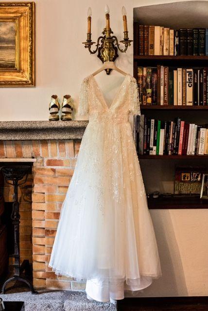 Dress, Gown, Clothing, Wedding dress, White, Photograph, Bridal clothing, Formal wear, Bridal party dress, Fashion,