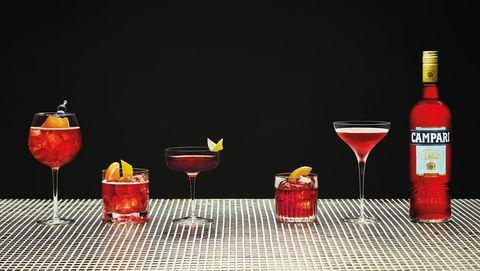 Drink, Liqueur, Alcoholic beverage, Distilled beverage, Campari, Classic cocktail, Daiquiri, Wine cocktail, Still life photography, Planter's punch,