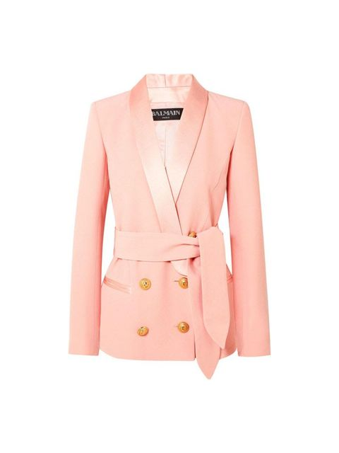Clothing, Outerwear, Blazer, Jacket, Pink, Sleeve, Coat, Top, Peach, Button,
