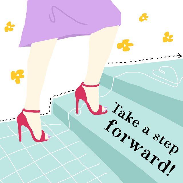 階段を上る女性のイラスト