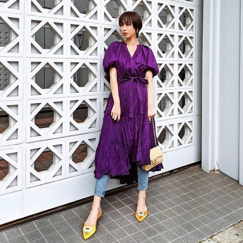 Clothing, Purple, Street fashion, Violet, Dress, Fashion, Pink, Footwear, Shoulder, Outerwear,