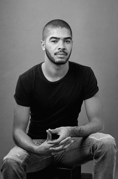 White, Black, Sitting, Photograph, Monochrome, Chin, Facial hair, Black-and-white, Hairstyle, Standing,
