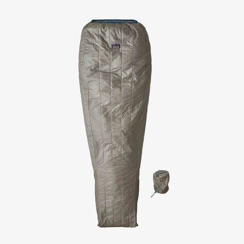 a gray sleeping bag
