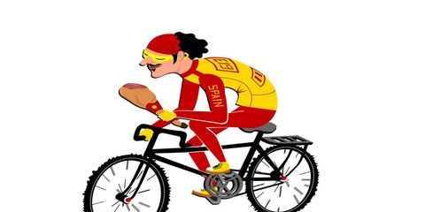 cyclist eating chicken