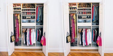 Closet, Room, Shelf, Furniture, Shelving, Wardrobe, Clothes hanger, Cupboard, Building, Retail,