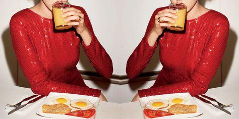 Junk food, Eating, Food, Breakfast, Orange juice, Fast food, Cuisine, Meal, Dish, Drink,