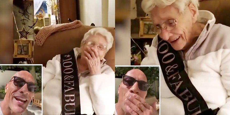 Dwayne Johnson Sings 100-Year-Old Fan