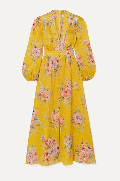 Clothing, Yellow, Day dress, Dress, Sleeve, Robe, Costume, Outerwear, Peach, Nightwear,