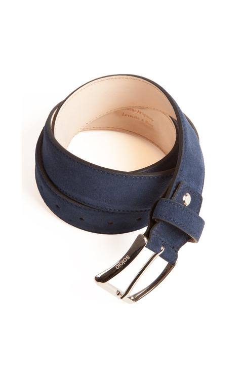Cinturón de serraje azul de Soloio