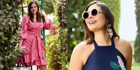 Eyewear, Clothing, Sunglasses, Pink, Glasses, Beauty, Fashion, Dress, Shoulder, Summer,