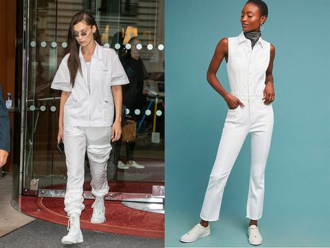 Clothing, White, Fashion, Jeans, Fashion model, Suit, Trousers, Footwear, Neck, Denim,
