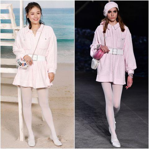 Clothing, White, Pink, Fashion, Fashion model, Dress, Outerwear, Footwear, Coat, Leg,