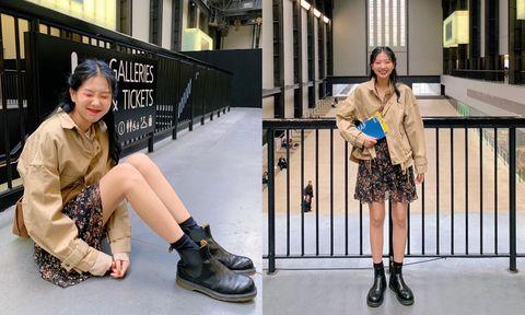 Street fashion, Clothing, Footwear, Fashion, Snapshot, Leg, Knee, Boot, Shoe, Ankle,