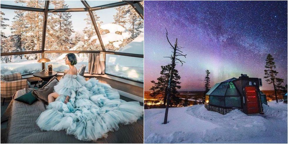 【一生梦想的极光】芬兰这个玻璃屋,让你躲在被窝里把星空美景尽收眼底。