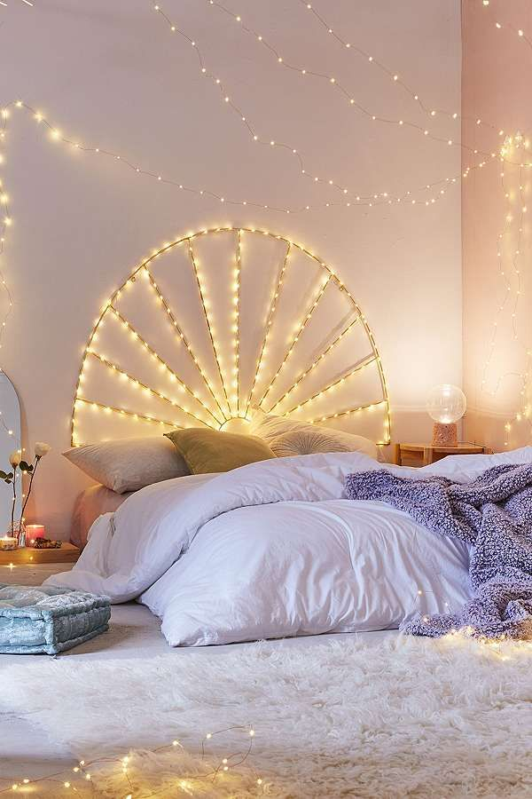 We need this twinkling fairy lights headboard from urban outfitters home