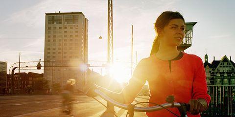A cyclist in the sun.