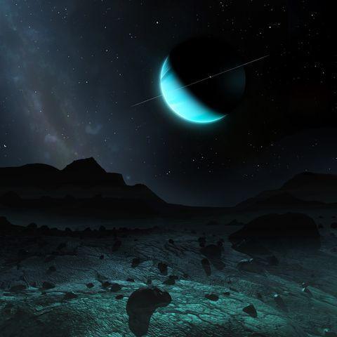Uranus seen from Titania, illustration