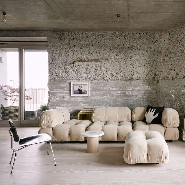 living room of concrete hamburg home belonging to photographer mark seelen