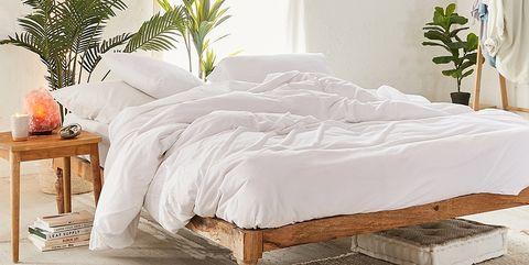 Furniture, Bedroom, Bed, White, Room, Bed frame, Bed sheet, Mattress, Interior design, Bedding,