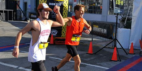 Dean and son finishing the Urbanathlon