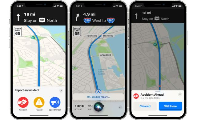 apple maps siri incident report feature