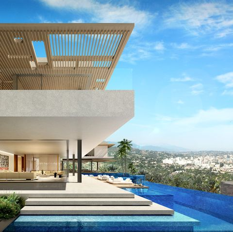 Property, House, Building, Home, Architecture, Real estate, Residential area, Estate, Swimming pool, Facade,