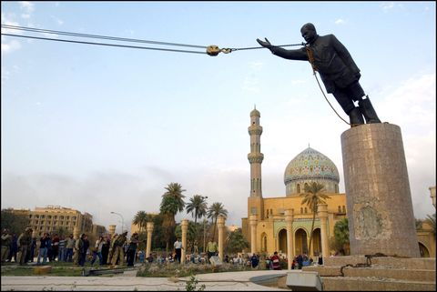 operation iraqi freedom day 21 us troops enter central baghdad and topple statue of saddam hussein on april 9, 2003 in baghdad, iraq
