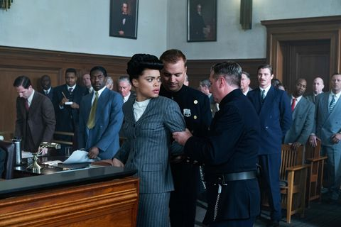 trevante rhodes, andra day, and garrett hedlund in the united states vs billie holiday from paramount pictures photo credit takashi seida
