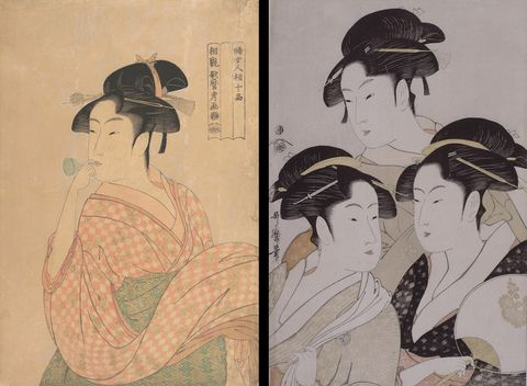 〈右〉当時三美人 喜多川歌麿 〈左〉婦女人相十品 ポペンを吹く娘