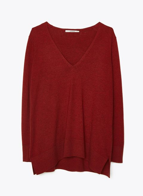 Clothing, Red, Sleeve, Maroon, Outerwear, Blouse, Neck, Sweater, Top, Jersey,