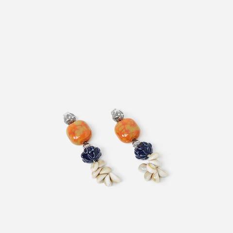 Earrings, Jewellery, Fashion accessory, Orange, Yellow, Gemstone, Bead, Jewelry making, Body jewelry, Silver,