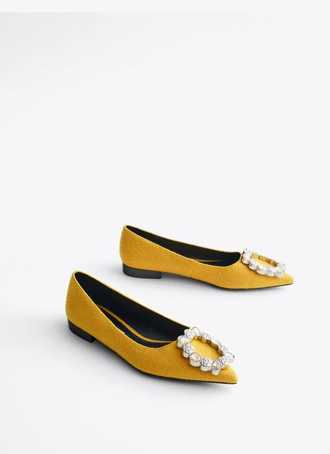 Embellished pointed ballerina shoes from Uterque