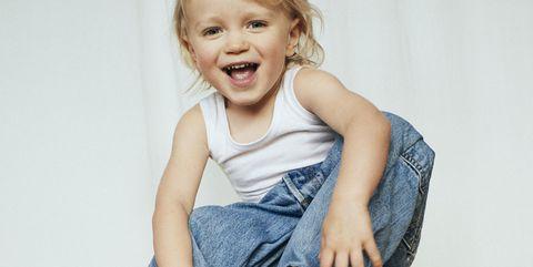 Child, Product, Sitting, Toddler, Stool, Shoulder, Denim, Leg, Chair, Child model,